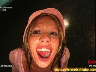 herrlich Brünetten und blonde erhalten mehrere Gesichtscumshots