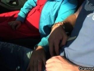alte Hündin wird im Auto von einem Fremden genagelt