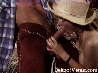 vintage porn - behaarte jugendlich Cowgirl fickt Freund