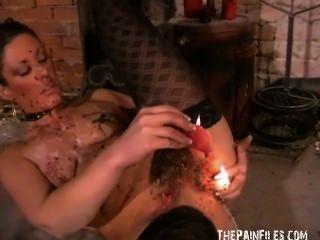 verworrene crystels heißes Wachs Strafe und selbst foltern bdsm von Englisch Fetisch