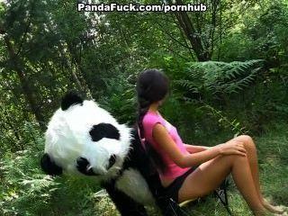 Sex im Wald mit einem riesigen Spielzeug Panda