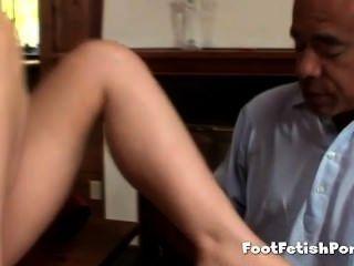 ein Füße und Strumpf Süchtigen