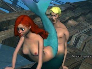 wilde kleine Meerjungfrau bekommt 3 sinnlosen Teil gefickt