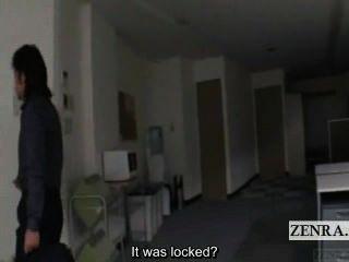 untertitelte japanische Büro begleiten cfnm in der Nähe Katastrophe