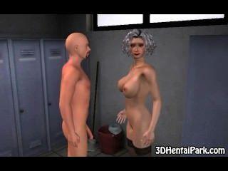 foxy 3d grauen Haaren Babe saugt Hahn und wird gefickt
