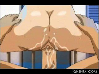 big meloned Hentai Brünette Springen und Blasen Welle