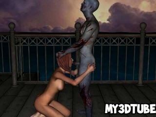 hot 3D-Comic-Babe wird von den Untoten hart gefickt
