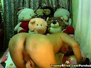 cute asian Tranny ihre harten Schwanz Rucken