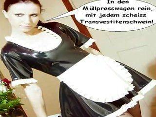 Latex Zofe natalie wird Scheiss transvestitenschweine im müllpresswagen ...