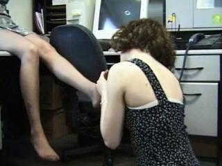 Büro Lesben Nylon fußanbetung