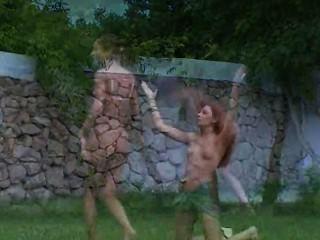 russische Küken Wassersport im Gras