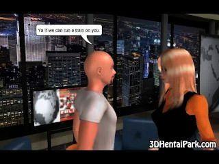 foxy 3D-Comic-Blondine auf einem harten Schwanz saugen