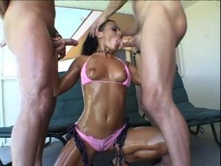 sandra romain Doppel bloujob, tiefer Oralsex, Sperma im Mund