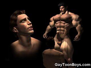 3d muskulösen Homosexuell großen Schwanz Fantasie!