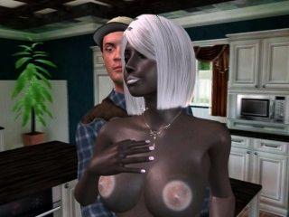 3-D-alien Hausfrau gefällig ihr Mann