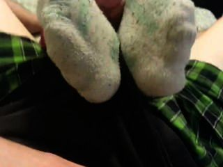 weiße Fila Socken footjob
