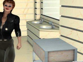 gefangen 3D-lesbische Mädchen wird gefingert und geleckt