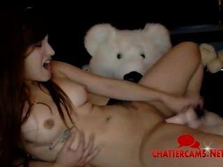 süße Rothaarige Teen Teddy und das Spielzeug