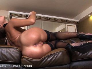 russische Schönheit Maria melena mit ihrer Pussy in Strumpfhosen spielen