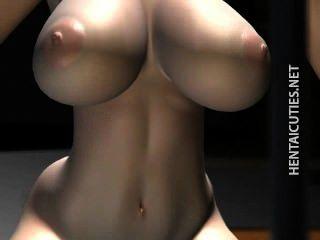 3d anime Mädchen in den Gläsern schlürfen cum