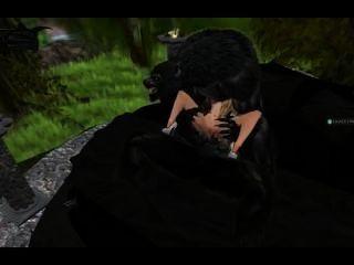 Double Penetration Werwolf über ein armes Mädchen