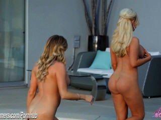 drei Bigtit Hotties blonde Fotze in sexy lesbischen dreiweg essen
