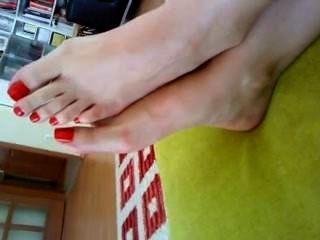 rote Zehen Frau