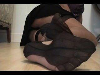 Reife Nylon Füße Anbetung