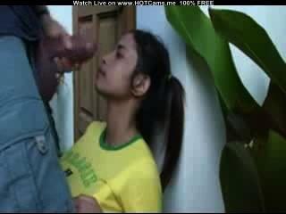 heiße brasilianische saugen dicksten Schwanz und Gesichts