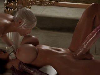 hot 3d Dickgirl mit einem 15-Zoll-Hahn fickt eine heiße Blondine