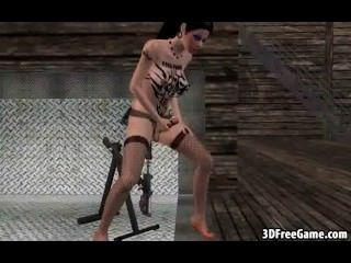 Diese sexy 3d tätowiert Transvestiten ist Rucken ihren Schwanz ab