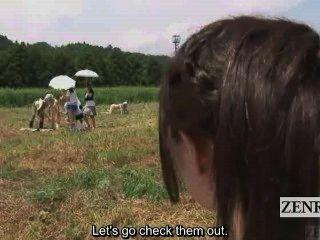 untertitelte cfnm Außen japanische Samen Melken Ranch