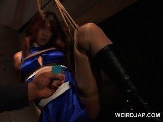 nuttig schwangere asiatische Babe in Seile gehänselt wird Snatch