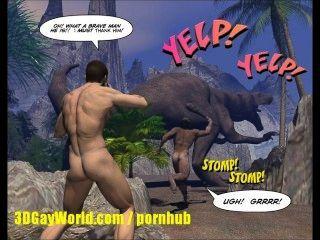 kreidig Hahn 3d Homosexuell komische Geschichte über junge Wissenschaftler gefickt von Caveman!