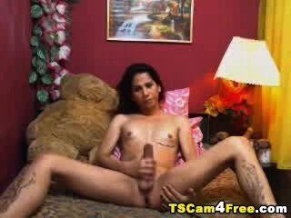 asian Tranny selbst saugt ihre riesigen Schwanz