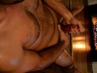 geölt Kamin Ruck und Sperma auf der Brust