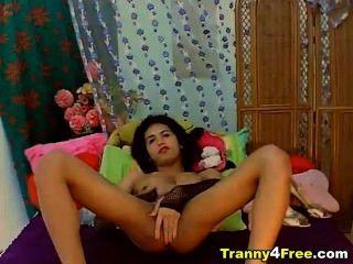 sexy Transe leert ihre heißen, weißen Saftes