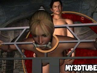 lecker 3d Babe saugt Hahn und von einem Vampir gefickt