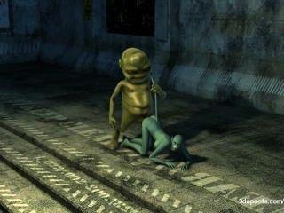Alien-Monster greift eine echte saftige Pussy Katze! Die Invasion hat begonnen!