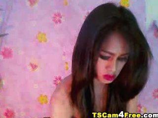 wunderschönen asiatischen tgirl streichelt ihre harten Schwanz