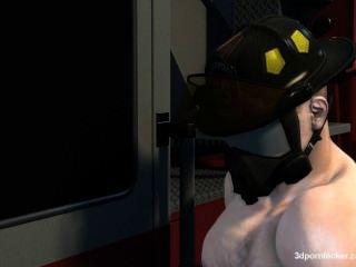 vollbusigen enge Muschi Schönheit wird für einige Feuerwehrleute heiß